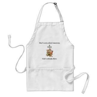 Don't Worry Apron w/Pink Flower Cross