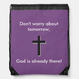 Don't Worry Backpack w/Black Cross