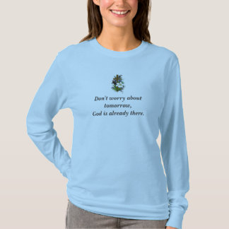 Don't Worry Basic Long Sleeve w/Blue Flower Cross T-Shirt