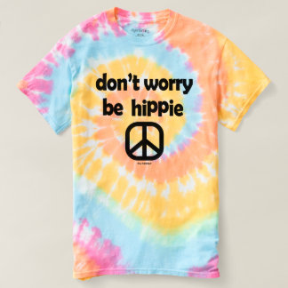 Don't Worry Be Hippie Tie Dye Tee Pastel Ladies