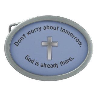 Don't Worry Belt Buckle w/Blue Cross
