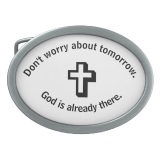 Don't Worry Belt Buckle w/Shadow Cross