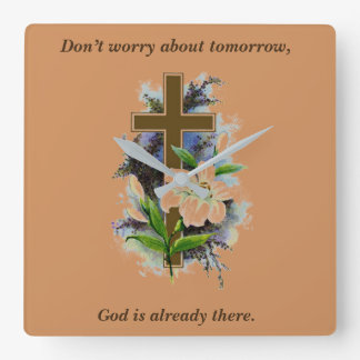 Don't Worry Clock w/Blue Flower Cross