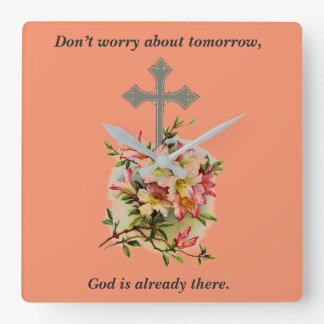 Don't Worry Clock w/Pink Flower Cross