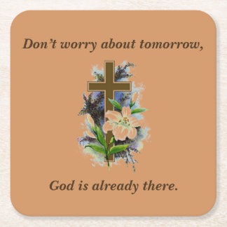 Don't Worry Coasters w/Blue Flower Cross