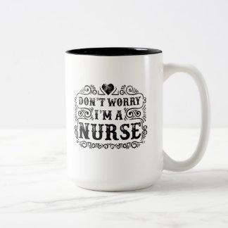 Don't Worry, I'm A Nurse Heart, Two-Tone Coffee Mug