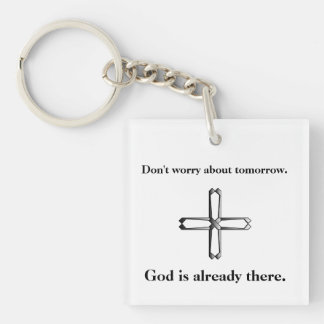 Don't Worry Keychain w/Steel Cross