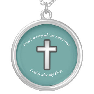 Don't Worry Necklace w/Black Outline Cross