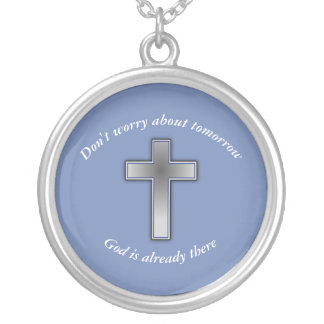 Don't Worry Necklace w/Blue Cross
