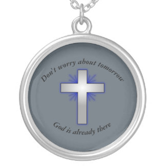 Don't Worry Necklace w/Blue Flared Cross