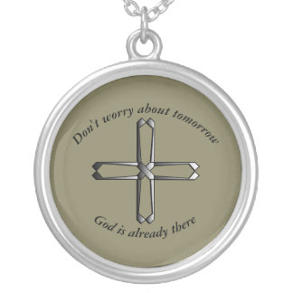 Don't Worry Necklace w/Steel Cross