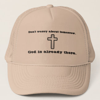Don't Worry Trucker Hat w/Black Outline Cross