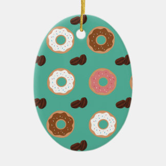 Donut and Coffee Beans Ceramic Ornament
