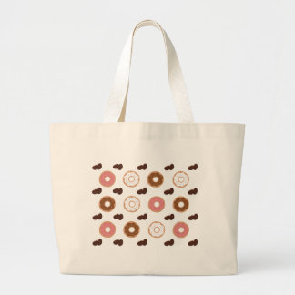 Donut and Coffee Beans Large Tote Bag