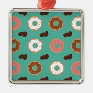 Donut and Coffee Beans Metal Ornament