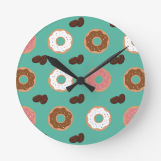 Donut and Coffee Beans Round Clock