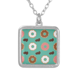 Donut and Coffee Beans Silver Plated Necklace