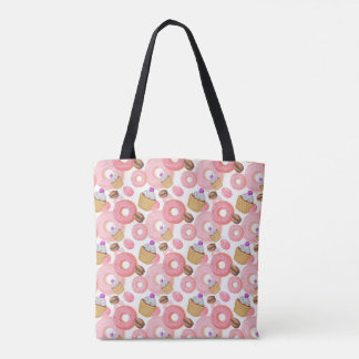 Donut and Cupcake Dessert Pattern Tote Bag