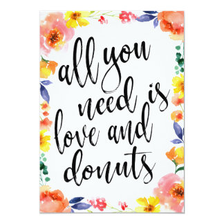 Donut bar affordable boho floral wedding sign card