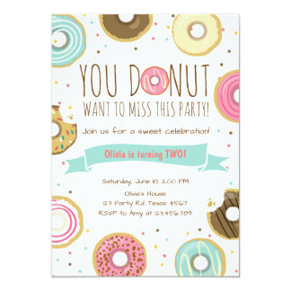 Donut Birthday Party Invitation Donut want to miss