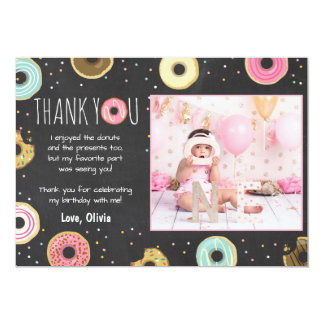 Donut Birthday Thank You Card Pink Girl Doughnut