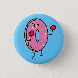 Donut Boxer Fighter dessert fried dough sugar 1 Inch Round Button