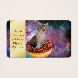 Donut cat-cat space-kitty-cute cats-pet-feline business card