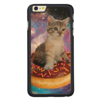Donut cat-cat space-kitty-cute cats-pet-feline carved maple iPhone 6 plus case