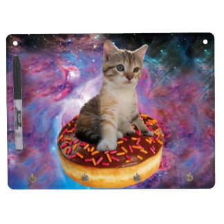 Donut cat-cat space-kitty-cute cats-pet-feline dry erase board with keychain holder