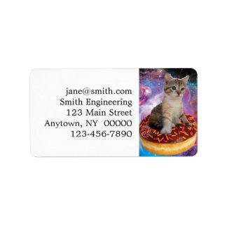 Donut cat-cat space-kitty-cute cats-pet-feline label