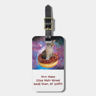 Donut cat-cat space-kitty-cute cats-pet-feline luggage tag