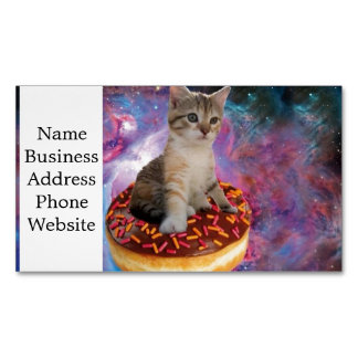 Donut cat-cat space-kitty-cute cats-pet-feline 	Magnetic business card