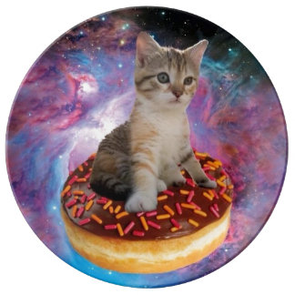 Donut cat-cat space-kitty-cute cats-pet-feline plate