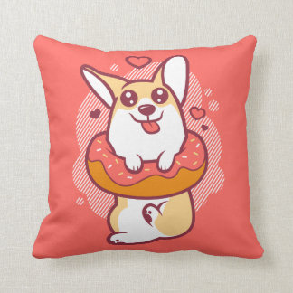 Donut Corgi Coral Throw Pillow