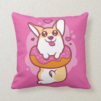 Donut Corgi Pink Throw Pillow