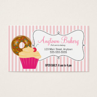 Donut, Cupcake, & Pink Stripes Bakery Business Card