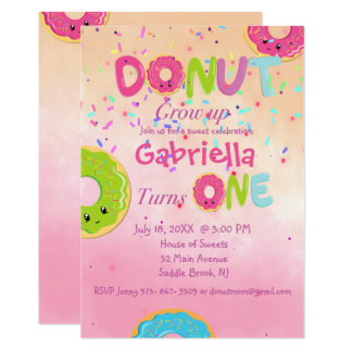 DONUT Grow Up First Birthday Party Invitation