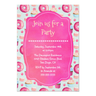 Donut Macarons And Cupcake Generic Party Invite