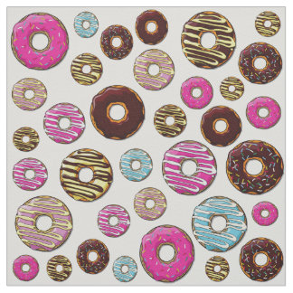 Donut Pattern, Colorful Donuts - Pink Blue Yellow Fabric