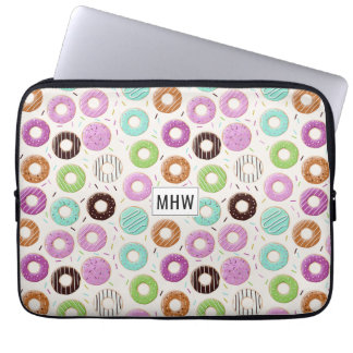 Donut Pattern custom monogram laptop sleeves