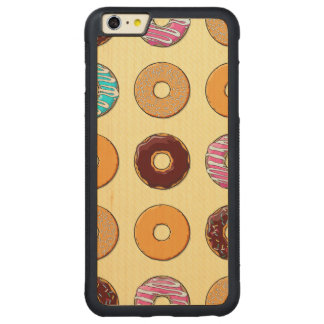 Donut Pattern on Yellow Carved Maple iPhone 6 Plus Bumper Case