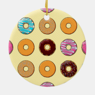 Donut Pattern on Yellow Ceramic Ornament