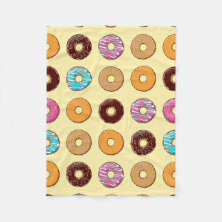 Donut Pattern on Yellow Fleece Blanket