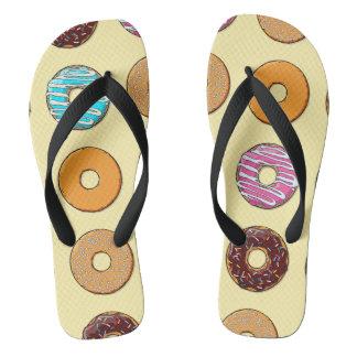 Donut Pattern on Yellow Flip Flops