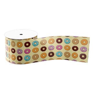 Donut Pattern on Yellow Grosgrain Ribbon