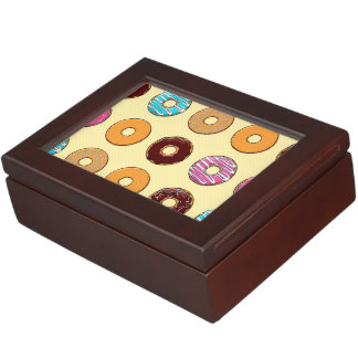 Donut Pattern on Yellow Keepsake Box