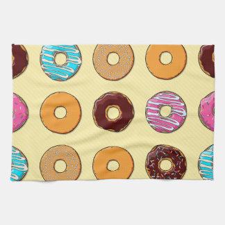 Donut Pattern on Yellow Kitchen Towel