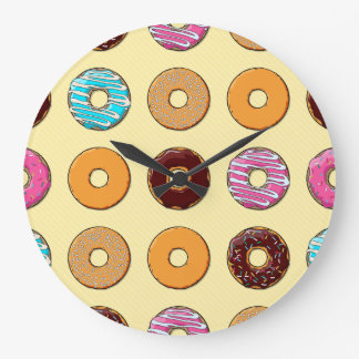 Donut Pattern on Yellow Large Clock