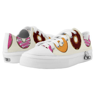 Donut Pattern on Yellow Low-Top Sneakers