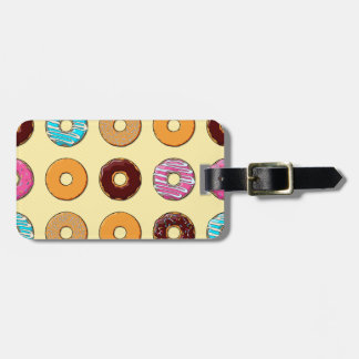 Donut Pattern on Yellow Luggage Tag